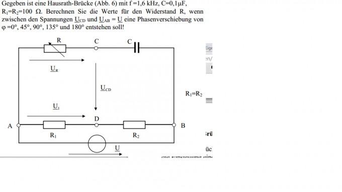 hausrath br cke widerstand berechnen gegeben spannung und phasenverschiebung nanolounge. Black Bedroom Furniture Sets. Home Design Ideas